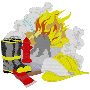 Fire Scene W/equipment
