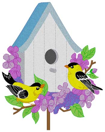 Birdhouse W/goldfinches