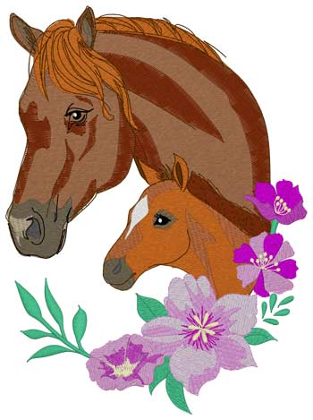Mare W/filly & Flowers