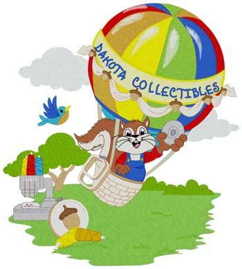 Hot Air Balloon Squirrel Larger Than 5x7