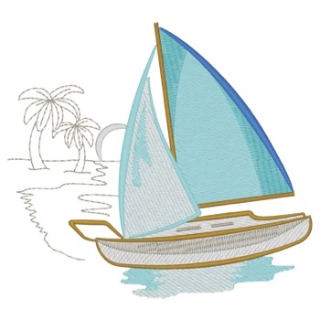 Sailboat W/palm Trees