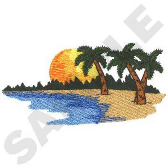 Beach Scene W/palm Trees