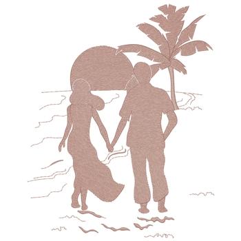 Couple Walking On A Beach