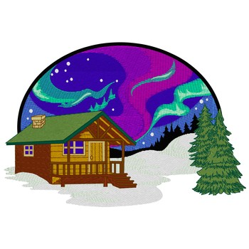 Cabin With Northern Lights