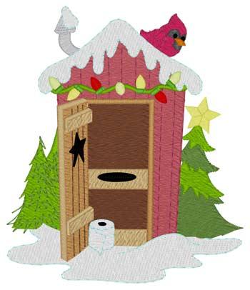 Christmas Lights Outhouse