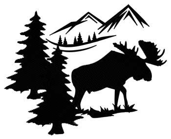 Moose Scene Silhouette